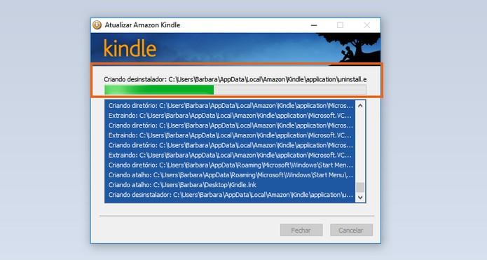 Aguarde a instalação do Kindle para PC (Foto: Reprodução/Barbara Mannara)