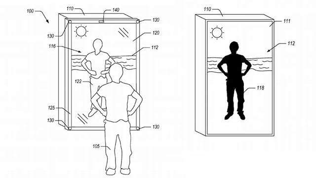 O espelho seria parcialmente reflexivo e transmissivo (Foto: Reprodução / United States Patent and Trademark Office)