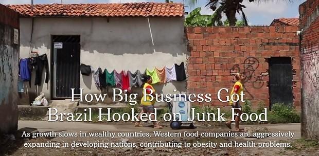Reportagem do NYT sobre a invasão de junk food na alimentação das famílias brasileiras (Foto: Reprodução)