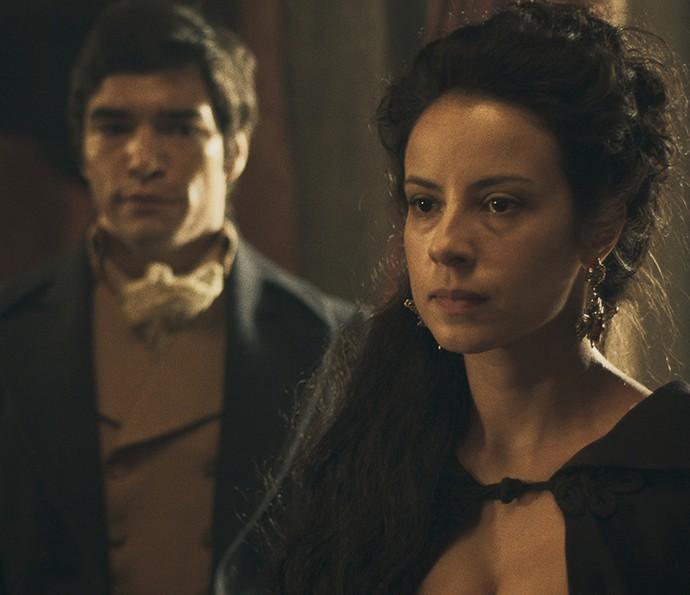 Joaquina fica surpresa ao encontrar Xavier (Foto: TV Globo)