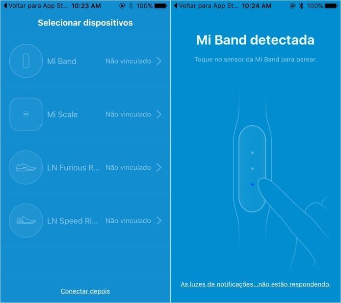Sincronizando Mi Band com o celular (Foto: Reprodução/Helito Bijora)