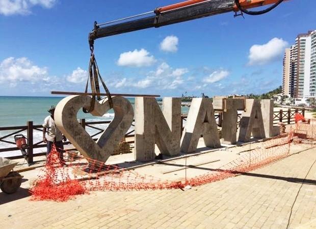 Primeiro monumento a ficar pronto será o da praia de Areia Preta, na Praça da Jangada, na Zona Leste. (Foto: Divulgação/Prefeitura de Natal)