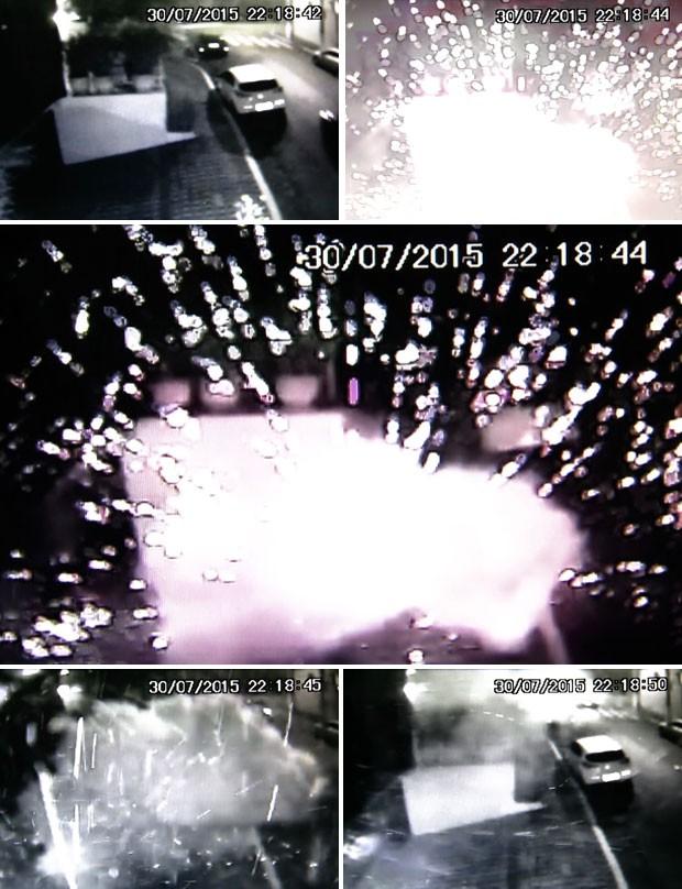 Vídeo mostra explosão de bomba caseira no Instituto Lula, em São Paulo (Foto: Reprodução TV Globo)