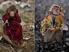 Macacos são fantasiados e treinados para ganhar dinheiro no Paquistão