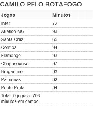 Números Camilo Botafogo (Foto: GloboEsporte.com)