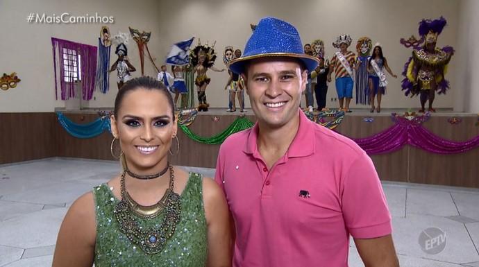 Pedro Leonardo e Aline Lima curtem o carnaval de Cordeirópolis (SP) (Foto: reprodução EPTV)