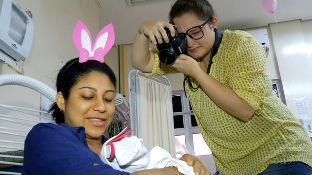 Ensaio é feito dentro da maternidade em Palmas (Foto: Reprodução/TV Anhanguera)