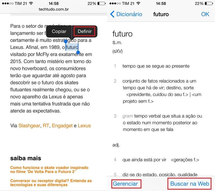 Busque a definição de uma palavra no Safari ou em apps com o iPhone (Foto: Reprodução/Juliana Pixinine)