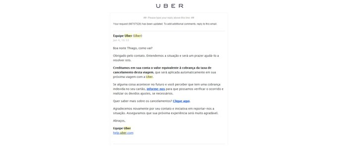 Uber manda e-mail falando sobre o cancelamento (Foto: Reprodução/Thiago Barros)
