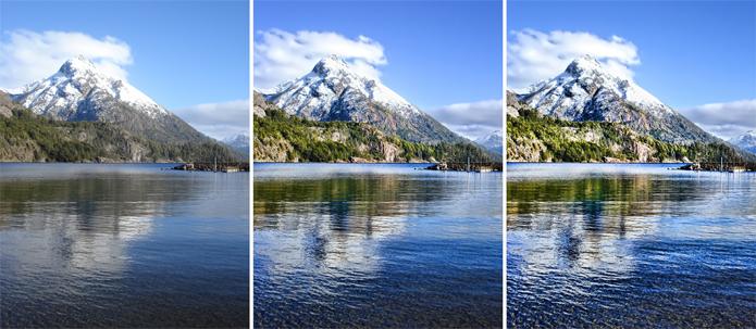 Imagem à esquerda apresenta foto original, sem HDR. Nos cortes à direita, o HDR é aplicado com diferentes gradações, dando ideia das diferenças entre HDR10 e Dolby Vision, respectivamente (Foto: Divulgação/Adobe)