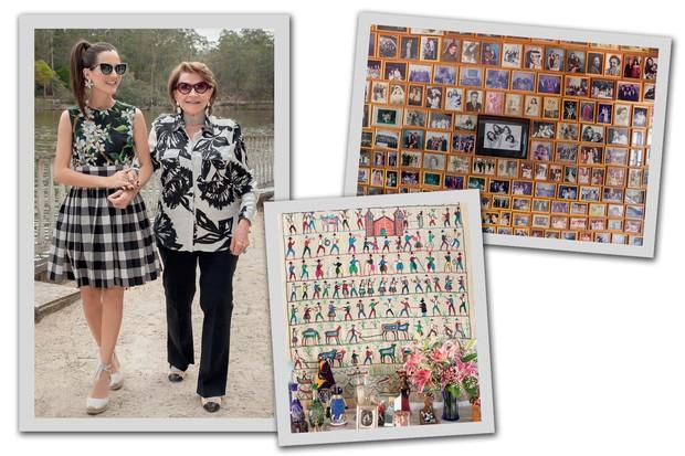 Joana e Sonia caminham à beira do açude da propriedade. À direita, retratos de família na sala de jogos e, abaixo, tapeçaria trazida por Sonia do Peru e bonecas africanas e mineiras sobre cômoda da sala (Foto: Carolina Isabel Novaes)