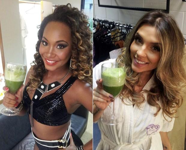 Luana e Carla também são adeptas do suco verde (Foto: Caldeirão do Huck/TV Globo)
