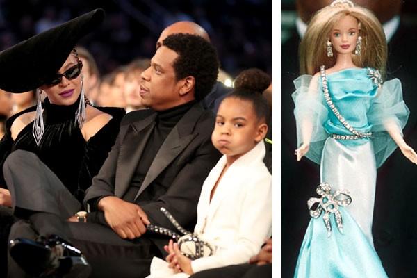 Blue Ivy ao lado dos pais, Beyoncé e Jay-Z, e a luxuosa boneca Barbie com diamantes  (Foto: Getty Images/Reprodução)