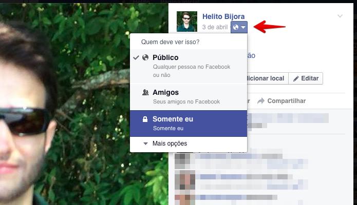 Alterando privacidade da foto para desativar os comentários (Foto: Reprodução/Helito Bijora)