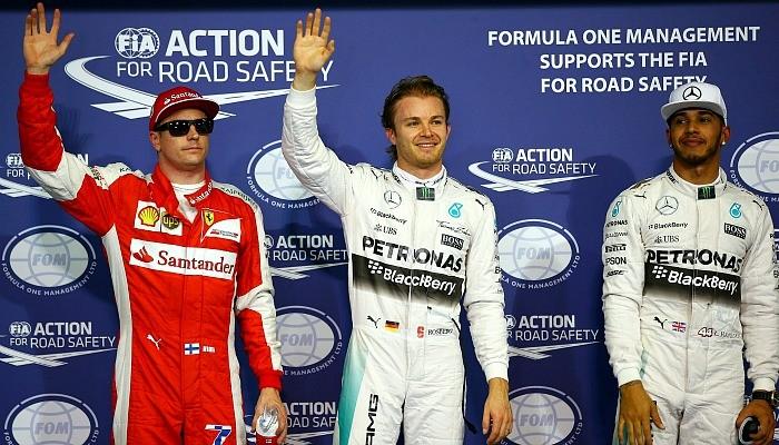 Kimi Raikkonen, Nico Rosberg e Lewis Hamilton Abu Dhabi