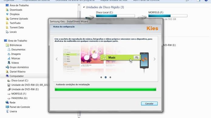 O assistente de instalação fará uma rápida análise geral de seu PC para melhor adaptar o Samsung Kies ao sistema (Foto: Reprodução/Daniel Ribeiro)