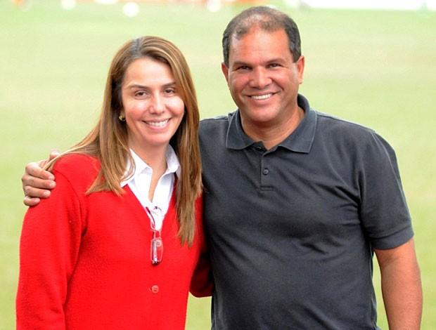 Patrícia Amorim com Geovani no Flamengo (Foto: Divulgação / Site Oficial do Flamengo)