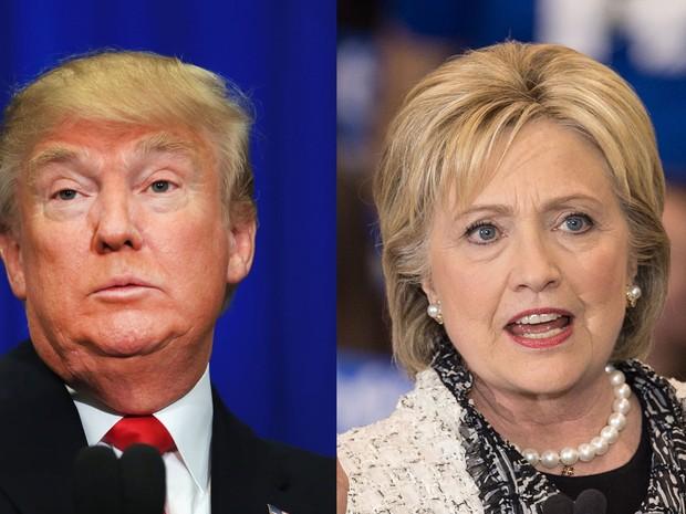 Donald Trump e Hillary Clinton lideram as pesquisas em quase todos os estados que participam da Super Terça (Foto: Tom Pennington/Getty Images North America/Nicholas Kamm/AFP)