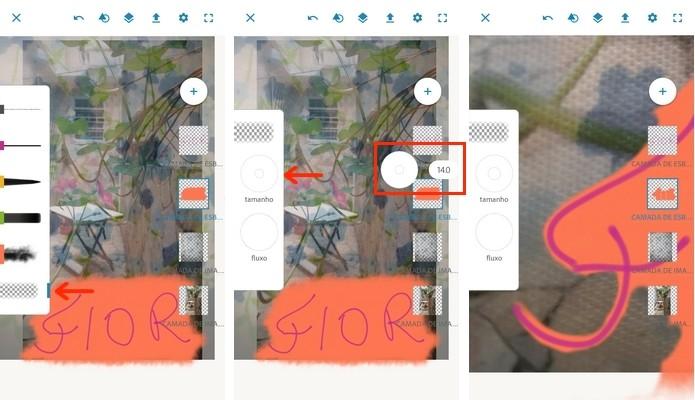 Uso da ferramenta borracha em camada do Photoshop Sketch (Foto: Reprodução/Raquel Freire)