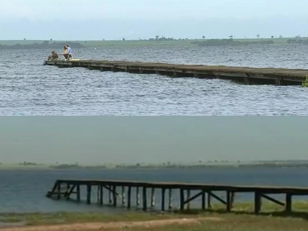 Tablado usado para pesca durante a cheia e agora, na seca (Foto: Reprodução/TV TEM)