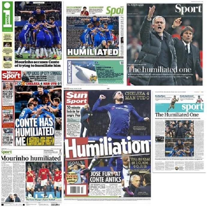 """BLOG: """"Humilhado"""": imprensa inglesa não perdoa Mourinho após goleada"""