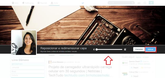 Posicionando e redimensionando a foto de capa no novo perfil do Twitter (Foto: Reprodução/Lívia Dâmaso)