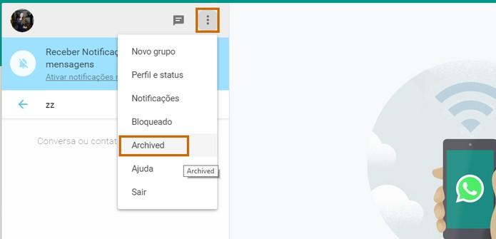 Encontre o menu com as conversas arquivadas no WhatsApp pelo PC (Foto: Reprodução/Barbara Mannara)