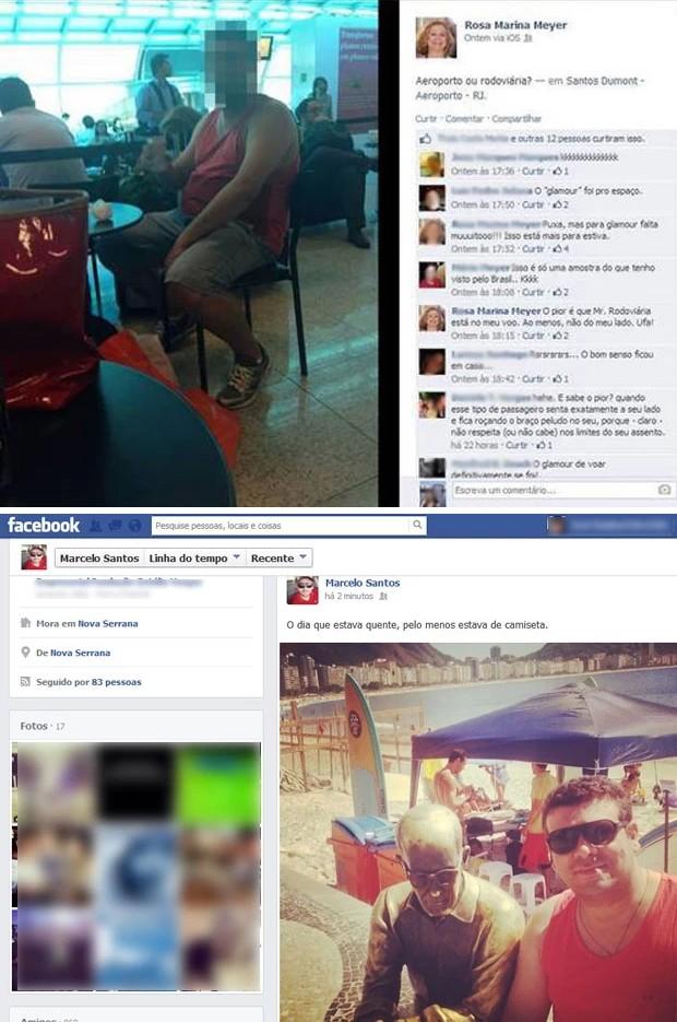 Acima, o post da professora universitária que provocou revolta nas redes sociais; abaixo, Marcelo Santos aparece com a camiseta regata que foi ironizada (Foto: Reprodução/Facebook)