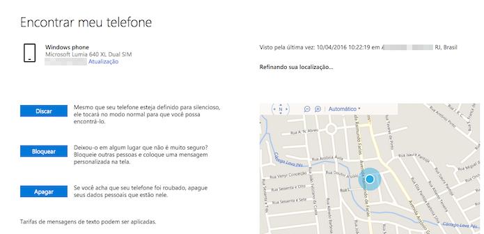 Serviços de localização do Windows 10 Mobile no PC (Foto: Reprodução/Marvin Costa)