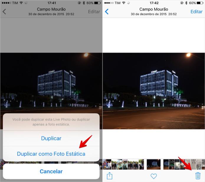 Crie uma cópia estática da imagem e apague a Live Photo (Foto: Reprodução/Helito Bijora)