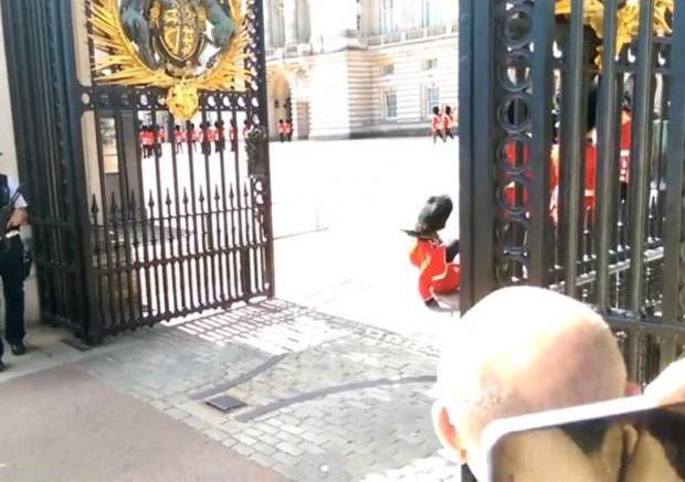 Turista flagrou queda de guarda da Rainha no Palácio de Buckingham (Foto: Reprodução/Facebook/Jordan Austin)