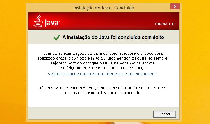 Finalizando instalação do Java 7.0 (Foto: Reprodução/Helito Bijora)