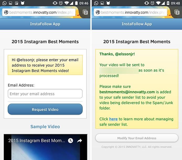 InstaTrack pedirá e-mail para qual enviará vídeo com Retrospectiva do Instagram (Foto: Reprodução/Elson de Souza)