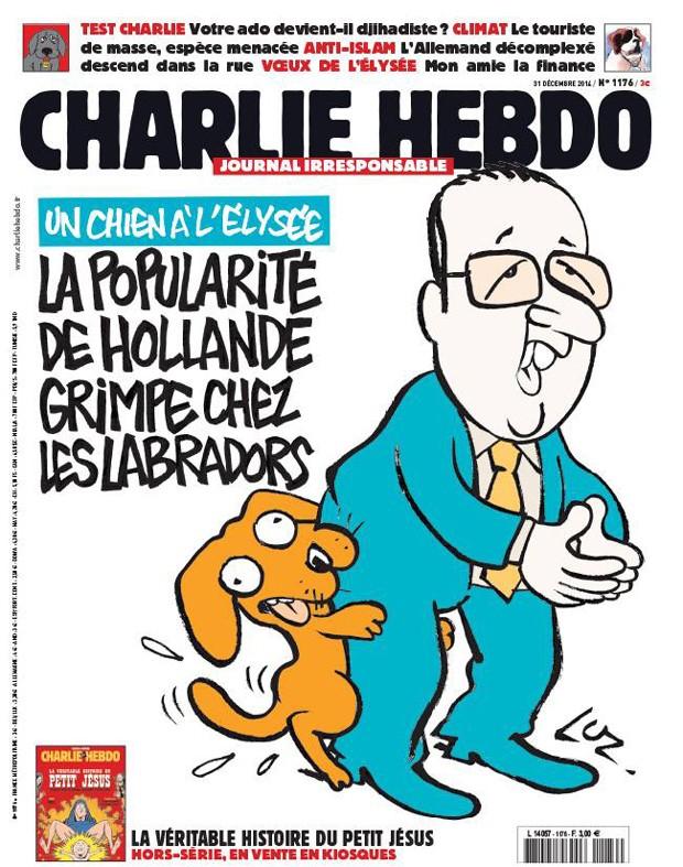 Capa da última edição da 'Chalie Hebdo' de 2014 com uma sátira ao presidente francês Fraçois Hollande (Foto: Reprodução/Facebook Charlie Hebdo)