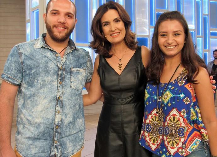Casal fã de Fátima assiste ao programa (Foto: Priscilla Massena/Gshow)