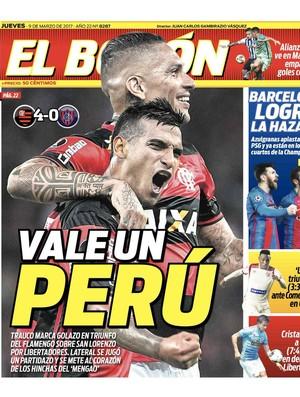 Trauco e Guerrero na capa do jornal peruano (Foto: Reprodução)