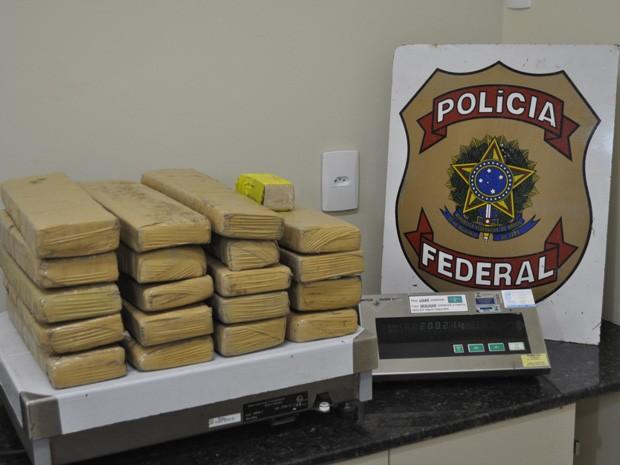Polícia apreendeu 20 quilos da droga, que estava dividida em tabletes (Foto: Polícia Federal/Divulgação)