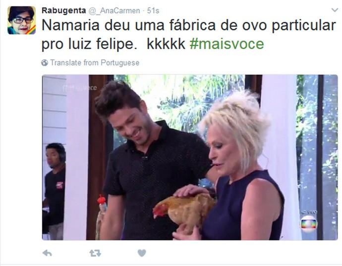 Ana Maria presentei Luiz Felipe (Foto: Reprodução internet)