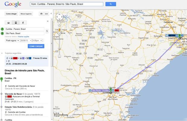 Imagem do Google Maps, que passa a incluir a opção de ônibus interestaduais nos trajetos sugeridos. (Foto: Reprodução/Google.com)