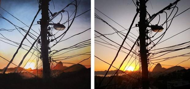 Pintura (à esquerda) mostra 'gatos' com a paisagem do Rio ao fundo (Foto: Mariana Revelles/Arquivo pessoal)