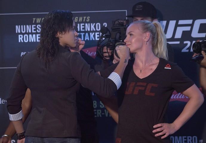 encarada Amanda Nunes, Valentina Shevchenko, UFC 213, Media Day (Foto: Evelyn Rodrigues)