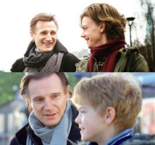 Liam Neeson e Thomas Brodie-Sangster nas filmagens da continuação de 'Simplesmente Amor' (Foto: Reprodução)