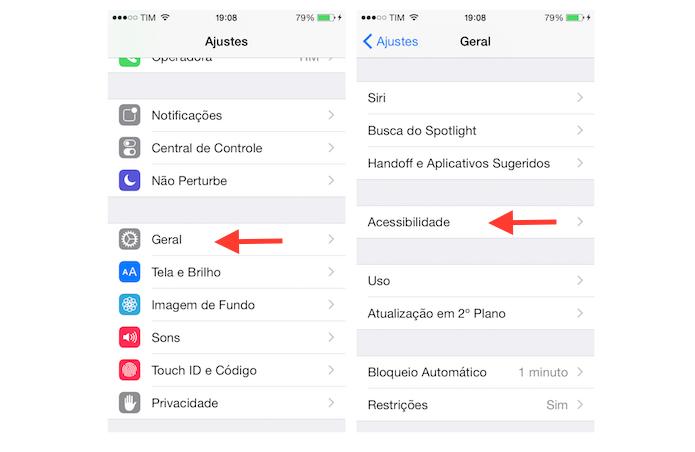 Indo até as opções de acessibilidade do iPhone (Foto: Reprodução/Marvin Costa)