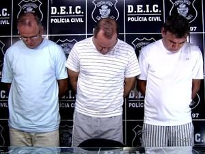 Presos suspeitos de sequestrar empresário de motéis em Goiânia, Goiás (Foto: Reprodução/TV Anhanguera)