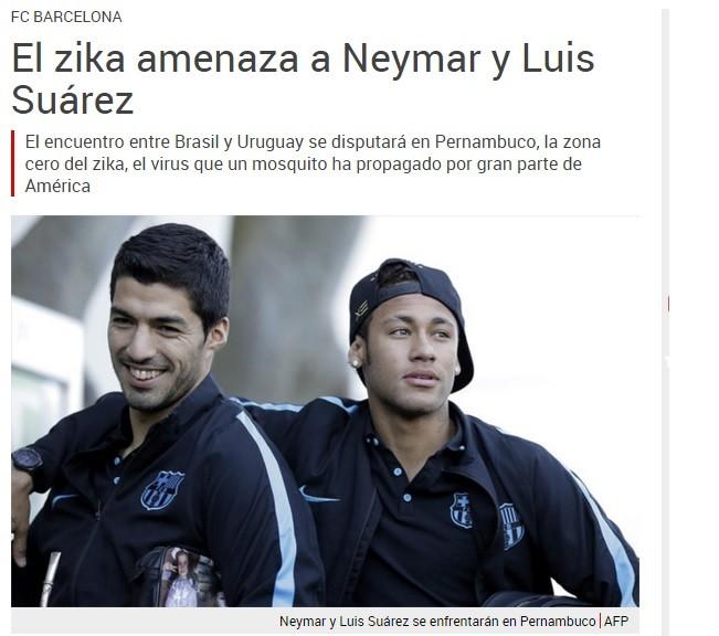Jornal destaca perigo do vírus da Zika com Neymar e Suárez
