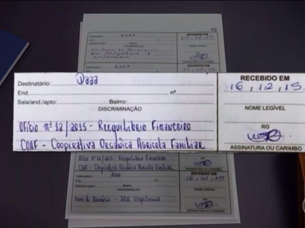 Livro de protocolo mostra que pedido de reequilibrio econômico-financeiro foi feito pela Coaf (Foto: Reprodução/TV Globo)