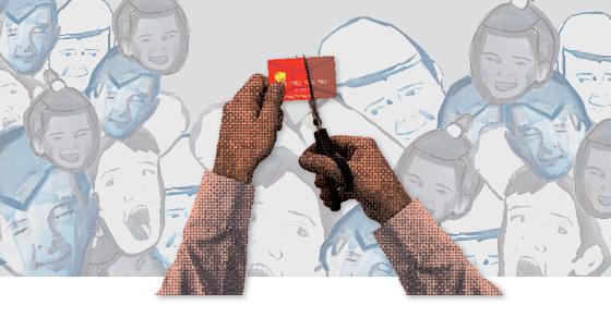 Mão cortando o cartão  (Foto: Montagem de Daniel Graf sobre fotos Shutterstock e Roger Lerina/Folhapress)