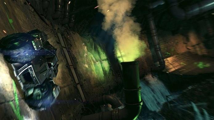 Primeira armadilha do Charada é uma corrida com percurso surpresa nos esgotos de Gotham (Foto: lazygamer.net)
