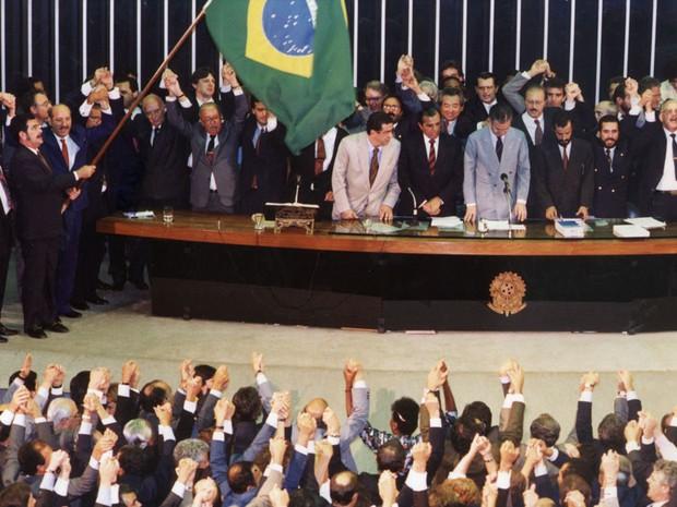 Votação do Impeachment do presidente Fernando Collor de Melo. (Foto: André Dusek/AE)