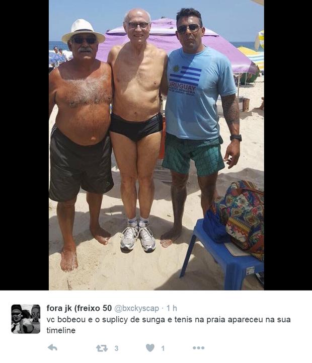 Comentários sobre o look Verão 2017 de Eduardo Suplicy na praia (Foto: Reprodução / Facebook)